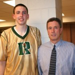 Duke commitment Ryan Kelly and former Duke player Kevin Billerman pose after last nights victory
