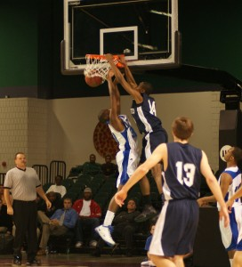 Deuce Bello throws one of many dunks down