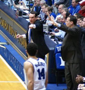 The Duke staff was really getting into the game in the second half