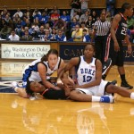 Abby Waner (3 steals)  and Karima Christmas (6 steals) hit the floor