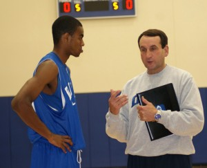 Krzyzewski instructs Elliot Williams in practice - photo copyright BDNP