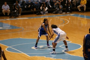 Jasmine, pictured here versus UNC, came up with some big buckets to help Duke go to 4-0 in Knoxville