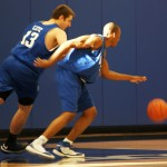 Noaln Smith chases down a loose ball in practice