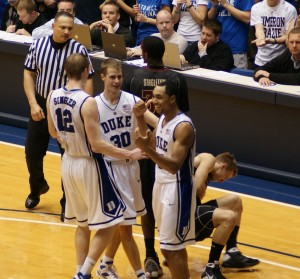 Duke begins to celebrate as FSU tried in vain to draw a foul - BDN Photo