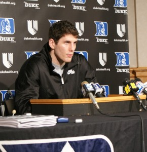 Zoubek addresses the media - BDN Photo