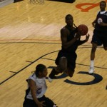Harrison Barnes goes airborne during his first game at the NBAPA Top 100 Camp,  BDN will be throwing out timely updates all weekend long.  Photo c/r BDN Photo