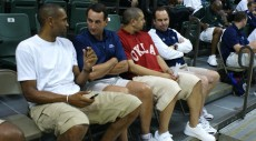 Grant Hill chat with Coach K, Jeff Capel and Mike Brey - copyright BDN Photo