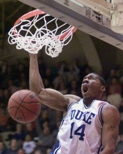 A.P. Duke Assistant Coach Nate James flushes a dunk during his playing days at Duke