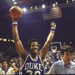 Gene Banks threw roses to the crowd during his last game against Carolina in Cameron