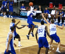 Irving drives the lane at this past seasons NBAPA Top 100 Camp