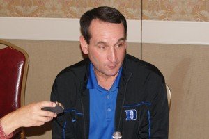 Coach K adressed over fifty media members at various times during ACC Operation Basketball
