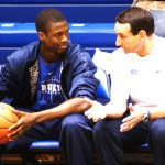 Barnes sports a Duke T-Shirt while talking to K - this picture is copyrighted by Blue Devil Nation and cannot be used without prior permission