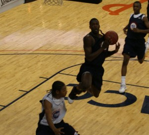 Barnes makes a move during the NBAPA Camp this past summer - Photo copyright Blue Devil Nation