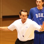 Coach K teaches during a recent practice - BDN Photo