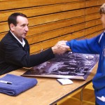Coach K shakes the hand of an adoring fan during a recent event - BDN Photo