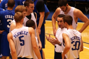 Coach K instructs current players