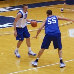 Miles faces Zoubs during a Duke practice - BDN Photo