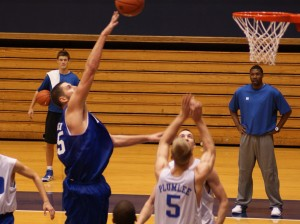 Zoubs throws up a hook shot in practice - BDN Photo