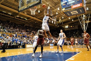 Nol;an Smith throws one down during Duke's 20 point win over Boston College - Lance King Photo