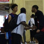 Austin RIvers, Kyrie Irving and Andre Dawkins share a moment during this past seasons AAU Nationionals in Orlando - BDN Photo