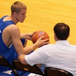 Mason Plumlee listening to Coach K during a Duke practice - BDN Photo