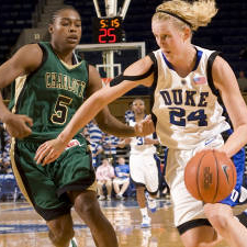 Kathleen Scheer had two treys in the last game at Boston College