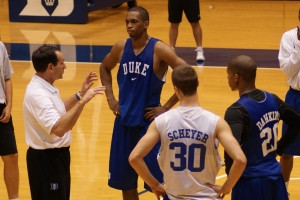 Coach K instructs