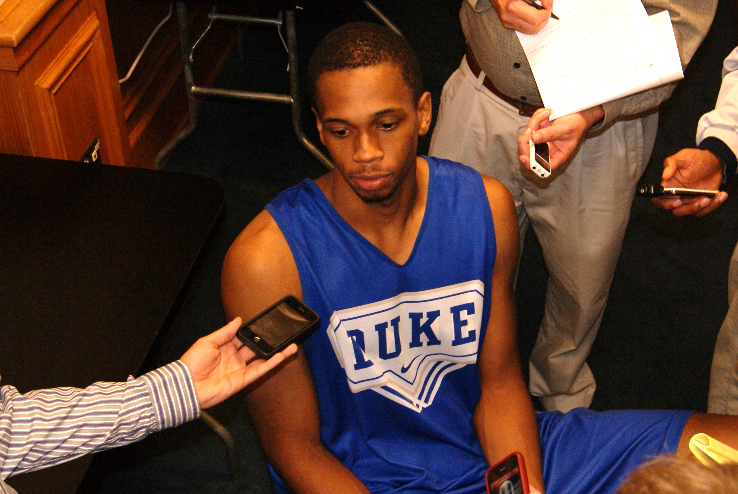 Lance Thomas addresses the media during the pre season - BDN Photo