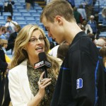 ESPN's Erin Andrews talks to the games MVP Jon Scheyer after DDuke held UNC to their lowest point total under Roy Williams - BDN Photo