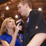 Erin Andrews interviews Jon Scheyer after his final game at Duke - copyright BDN Photo