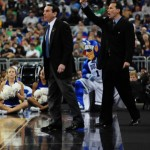 Coach Chris Collins flanks Mike Krzyzewski in Duke&#039;s win over Baylor.  Collins previews Baylor for BDN.  - Photo David Bradley, Duke Blue Planet