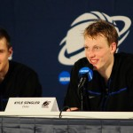 Jon Scheyer and Kyle Singler address the media in Houston - Photo Duke Blue Planet