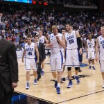Duke walks off the court after an opening round victory