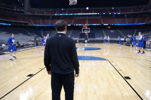Coach K watches as his team prepares - BDN Photo