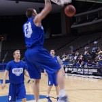 Miles Plumlee throws one down in practice which took place in the Jacksonville Veterans Memorial Arena