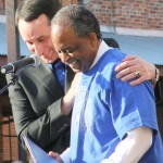 Coach K and Durham Mayor Bell share a moment as Duke was honored by the City of Durham on Thursday.  BDN Photo