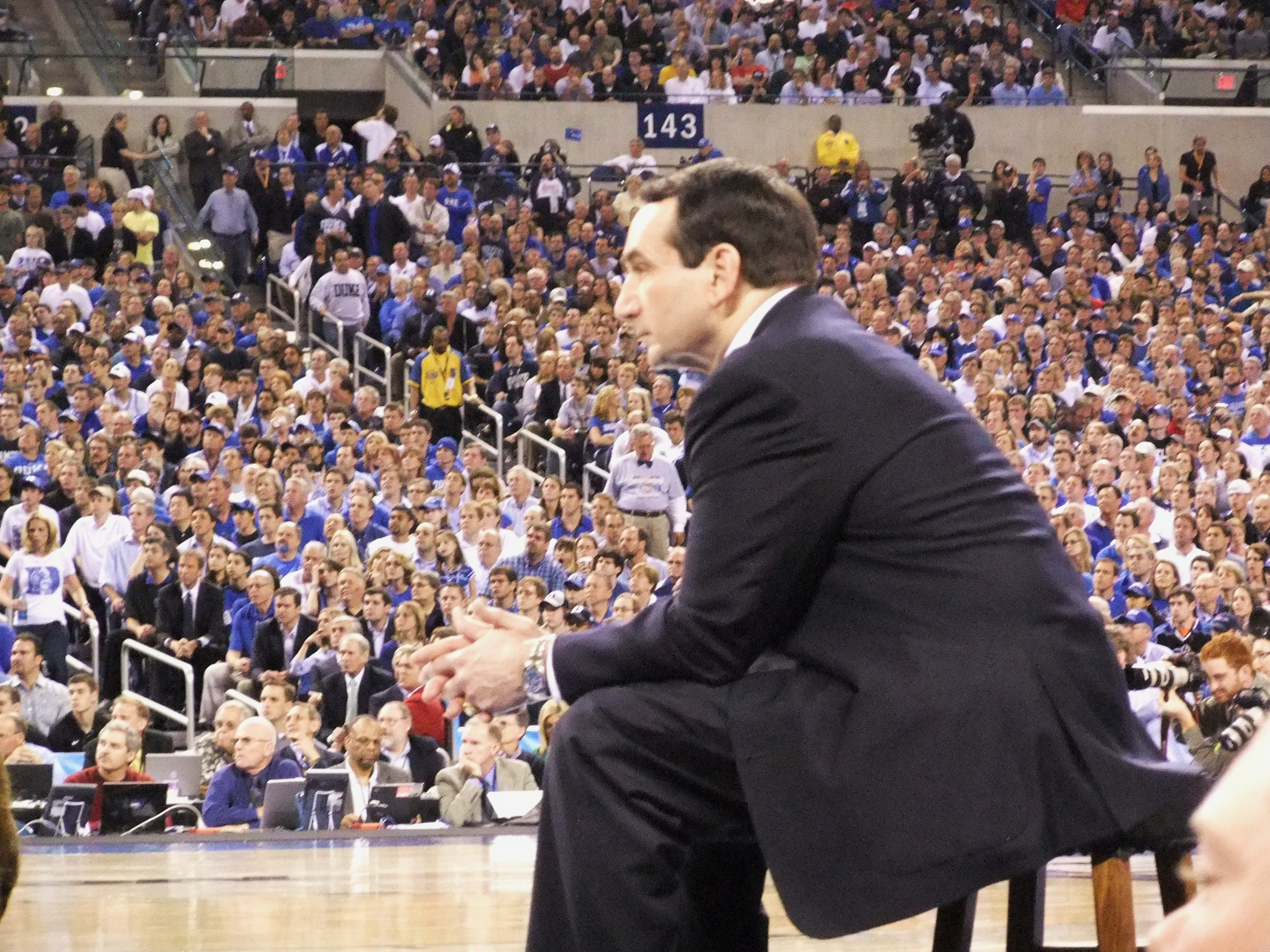 Coach K took out his NCAA stool to sit on while he adresses Duke fans during the Awards Banquet where Duke raised their 2010 Nationa Championship banner to the ceiling.  copyright BDN Photo