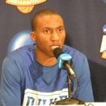 Nolan Smith chats with the media today in Indianapolis.  Duke is one win away from a fourth national championship = BDN Photo