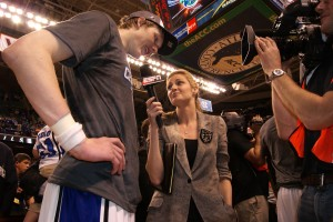 Singler pictured with Erin Andrews was named captain as was his teammate Nolan Smith- BDN Photo