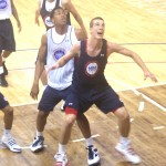 Marshall Plumlee is holding his opponent off the boards at the NBAPA Top 100 Camp in Charlottesville, Va.  BDN Photo