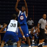 Amile Jefferson surveys the defense at the NBAPA Top 200 Camp In Charlottesville, Virginia - BDN Photo