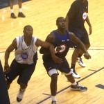 Duke verbal Tyler Adams (blue) goes for a rebound at the NBAPA Camp.  For all the skinny on prospects join Blue Devil Nation Premium.