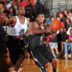 Kyrie Irving drives to the basket during is N.C. Pro Am debut - photo copyright Rick Crank, BDN Photo
