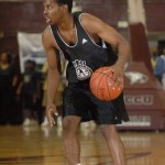 Duke freshman Tyler Thornton surveys the court at the N.C. Pro Am - photo Rick Crank/BDN