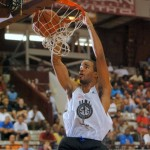 Josh Hairston throws down a dunk at the N.C. Pro Am - Photo Rick Crank for BDN
