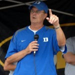 &quot;We are Duke!&quot;  Coach Cutcliffe to the fans who attended Meet the Devils Day in Durham.  Photo Rick Crank/BDN