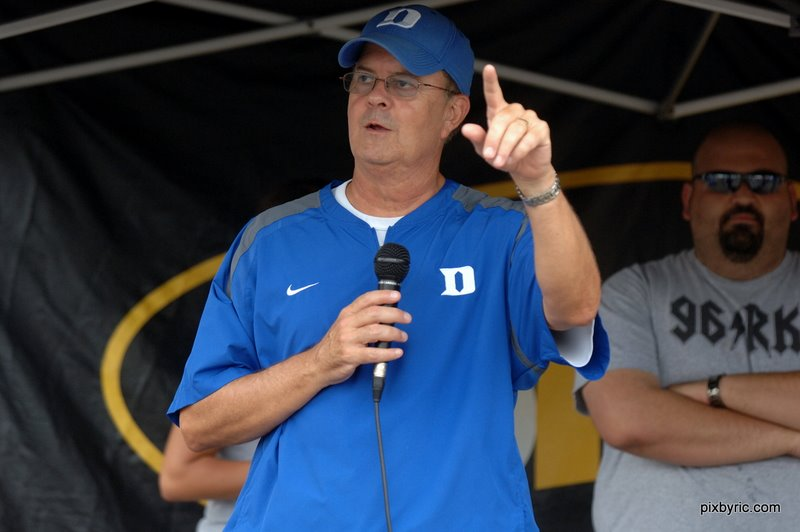 """We are Duke!""  Coach Cutcliffe to the fans who attended Meet the Devils Day in Durham.  Photo Rick Crank/BDN"