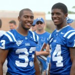 Desmond Scott and Corey Gattis talk football with the Blue Devil Nation - BDN Photo, RIck Crank
