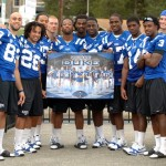 Conner Vernon pictured with the Duke wideouts - BDN Photo