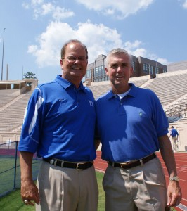 Coach Cutcliffe poses with Duke AD Kevin White - copyright BDN Photo